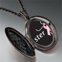Necklace & Pendants - sister support pink ribbon pendant necklace Image.