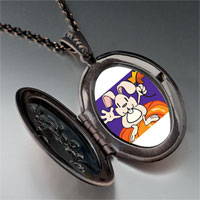 Necklace & Pendants - autumn jack o lantern halloween pumpkin rabbit oval and flower pendant Image.