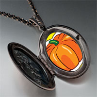 Necklace & Pendants - jack o lantern halloween pumpkin love oval and flower pendant Image.
