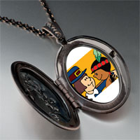 Necklace & Pendants - thanksgiving pilgrim indian couple pendant necklace Image.