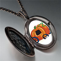Necklace & Pendants - jack o lantern halloween pumpkin princess stage coach oval and flower pendant Image.