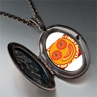 Necklace & Pendants - smiling jack o lantern halloween pumpkin pie oval and flower pendant Image.