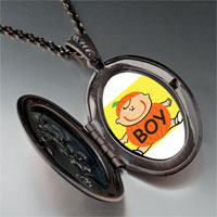 Necklace & Pendants - cute jack o lantern halloween pumpkin boy oval and flower pendant Image.