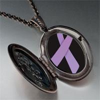 Necklace & Pendants - lavender ribbon awareness pendant necklace Image.
