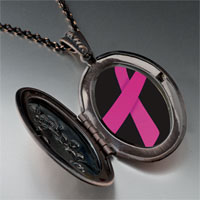 Necklace & Pendants - hot pink ribbon awareness pendant necklace Image.