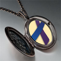 Necklace & Pendants - purple blue ribbon awareness pendant necklace Image.