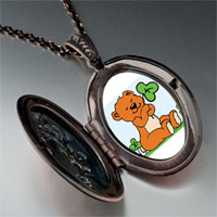 Necklace & Pendants - patrick' s day theme photo oval flower pendant shamrock cute bear gifts for women necklace Image.