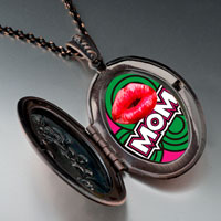 Necklace & Pendants - mom red lip pendant necklaceoval flower for women Image.