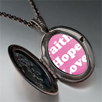 Necklace & Pendants - pink faith hope love pendant necklace Image.