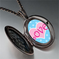 Necklace & Pendants - pink love heart pendant necklace Image.