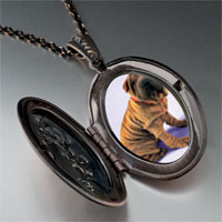 Necklace & Pendants - shar pei dog brown pendant necklace Image.