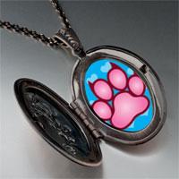 Necklace & Pendants - pink paw print pendant necklace Image.