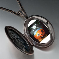 Necklace & Pendants - jack o lantern halloween pumpkin pirate oval and flower pendant Image.