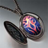 Necklace & Pendants - painted fire flames pendant necklace Image.