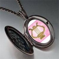 Necklace & Pendants - golden lyre pendant necklace Image.