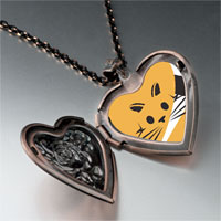 Necklace & Pendants - orange cat painting photo heart locket pendant necklace Image.