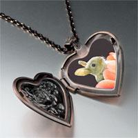 Necklace & Pendants - bunny in tulip photo heart locket pendant necklace Image.