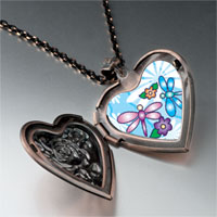 Necklace & Pendants - dragonflies flowers photo heart locket pendant necklace Image.