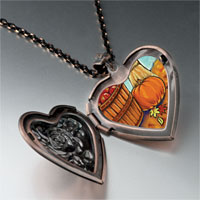 Necklace & Pendants - autumn jack o lantern halloween pumpkin heart and rose pendant Image.