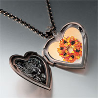 Necklace & Pendants - autumn leaf wreath photo heart locket pendant necklace Image.