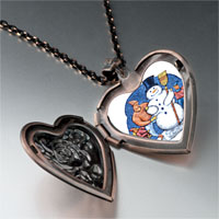 Necklace & Pendants - jewelry building a christmas gifts snowman photo heart locket pendant necklace Image.
