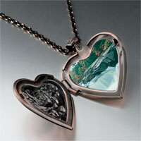 Necklace & Pendants - waterfall paradise photo heart locket pendant necklace Image.