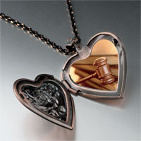 Necklace & Pendants - law gavel photo heart locket pendant necklace Image.