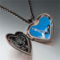 Necklace & Pendants - karate kick photo heart locket pendant necklace Image.