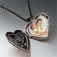 Necklace & Pendants - mary cassatt' s breakfast in bed photo heart locket pendant necklace Image.