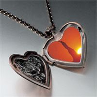 Necklace & Pendants - statue liberty sunset photo heart locket pendant necklace Image.