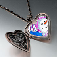 Necklace & Pendants - jewelry striped hat christmas gifts snowman photo heart locket pendant necklace Image.