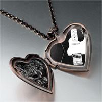 Necklace & Pendants - black electric guitar photo heart locket pendant necklace Image.