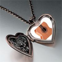 Necklace & Pendants - classic guitar photo heart locket pendant necklace Image.
