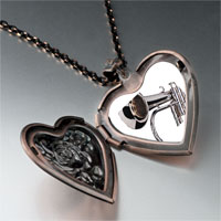Necklace & Pendants - silver trumpet photo heart locket pendant necklace Image.
