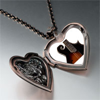 Necklace & Pendants - hollow body electric guitar photo heart locket pendant necklace Image.