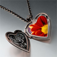 Necklace & Pendants - orange daisy photo heart locket pendant necklace Image.