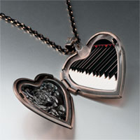 Necklace & Pendants - classic piano keys photo heart locket pendant necklace Image.
