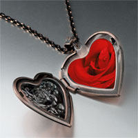 Necklace & Pendants - dew drop rose photo heart locket pendant necklace Image.