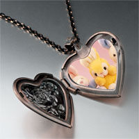 Necklace & Pendants - stuffed bunny rabbits photo heart locket pendant necklace Image.