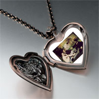 Necklace & Pendants - manet luncheon grass art photo heart locket pendant necklace Image.