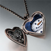 Necklace & Pendants - jewelry christmas gifts snowman smile photo heart locket pendant necklace Image.