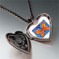 Necklace & Pendants - orange butterfly photo heart locket pendant necklace Image.