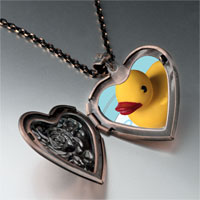Necklace & Pendants - swimming rubber ducky photo heart locket pendant necklace Image.