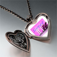 Necklace & Pendants - pink sweet sixteen photo heart locket pendant necklace Image.