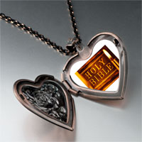 Necklace & Pendants - leather bound holy bible photo heart locket pendant necklace Image.