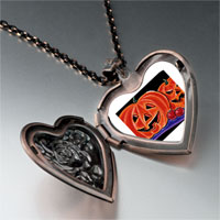 Necklace & Pendants - halloween jack o'  lanterns photo heart locket pendant necklace Image.