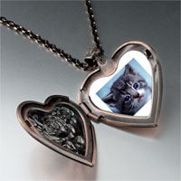 Necklace & Pendants - grey kitty photo heart locket pendant necklace Image.