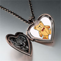 Necklace & Pendants - teddy bear red bow photo heart locket pendant necklace Image.
