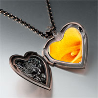 Necklace & Pendants - yellow calla lily flower photo heart locket pendant necklace Image.