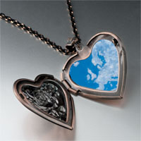Necklace & Pendants - blue sky clouds photo heart locket pendant necklace Image.